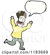 Cartoon Of A Man Running And Yelling Royalty Free Vector Illustration