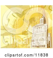 Yellow And Orange Toned Building Background Clipart Illustration