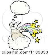 Cartoon Of A Thinking Wizard And Stars Royalty Free Vector Illustration