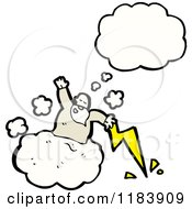 Cartoon Of A God In A Cloud Tossing Lightning Bolts Thinking Royalty Free Vector Illustration by lineartestpilot