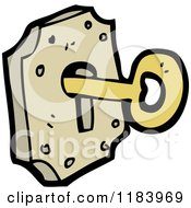 Cartoon Of A Key In A Lock Royalty Free Vector Illustration by lineartestpilot