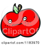 Cartoon Of A Red Apple Royalty Free Vector Illustration by lineartestpilot