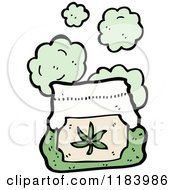 Cartoon Of A Bag With A Marijuana Leaf Royalty Free Vector Illustration by lineartestpilot