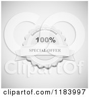 Clipart Of A Grayscale Special Offer Label With A Banner On Shading Royalty Free Vector Illustration