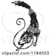 Fenrir Or Fenris Wolf Black And White Woodcut 2