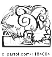 Clipart Of Victims In A Terrorst Bombing Explosion Black And White Woodcut Royalty Free Vector Illustration