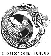 Clipart Of A Midgard Serpent Around The World Black And White Woodcut Royalty Free Vector Illustration by xunantunich