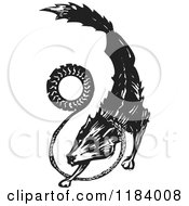 Clipart Of A Fenrir Or Fenris Wolf Black And White Woodcut Royalty Free Vector Illustration