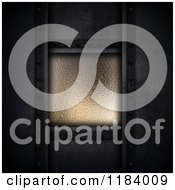 Clipart Of A 3d Dark Concrete Background And Metal Royalty Free CGI Illustration