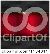 Clipart Of A 3d Gold Border Framing Red Metal On A Perforated Texture Royalty Free Vector Illustration