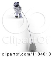 Clipart Of A 3d Robot Pulling A Heavy Weight On A Cable Over A Cliff Royalty Free CGI Illustration