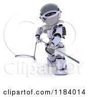 Clipart Of A 3d Robot Pulling On A Metal Cable Royalty Free CGI Illustration by KJ Pargeter