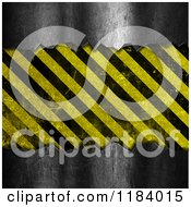 Clipart Of A 3d Metal Background With Exposed Hazard Stripes Royalty Free CGI Illustration by KJ Pargeter