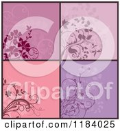 Clipart Of Purple And Pink Floral Designs Royalty Free Vector Illustration