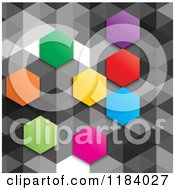 Clipart Of A Background Of Colorful Hexagons On Gray Royalty Free Vector Illustration by KJ Pargeter