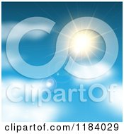 Clipart Of A Blue Sky With Blurred Clouds And A Sun Burst Royalty Free Vector Illustration