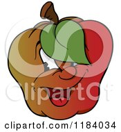 Cartoon Of A Happy Apple With A Leaf Over His Eye Royalty Free Vector Clipart