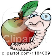 Cartoon Of A Mad Earth Worm And Apple Royalty Free Vector Clipart by dero