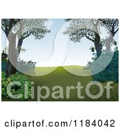 Clipart Of A Hillside Clearing Royalty Free Vector Illustration