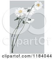 Clipart Of Daisy Flowers Over Gray Royalty Free Vector Illustration by dero