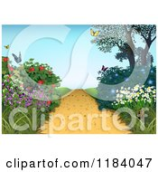 Clipart Of A Hilly Path And Flowering Plants With Butterflies Royalty Free Vector Illustration