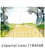 Clipart Of A Hilly Path With Trees And Plants Royalty Free Vector Illustration by dero