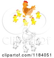 Cartoon Of A Colored And Outlined Mother Hen And Baby Chicks Royalty Free Vector Clipart