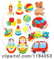 Cartoon Of Colorful Toys Royalty Free Vector Clipart by Alex Bannykh
