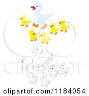 Cartoon Of A Colored And Outlined Mother Duck And Baby Ducklings Royalty Free Vector Clipart