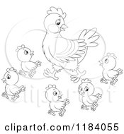 Cartoon Of An Outlined Mother Hen And Baby Chicks Royalty Free Vector Clipart