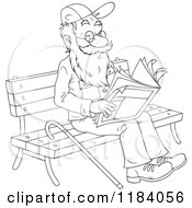 Cartoon Of A Happy Outlined Senior Man Reading The Newspaper On A Park Bench Royalty Free Vector Clipart by Alex Bannykh