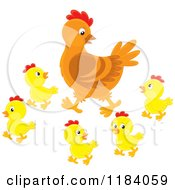 Cartoon Of A Mother Hen And Baby Chicks Royalty Free Vector Clipart by Alex Bannykh