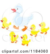 Cartoon Of A Mother Duck And Baby Ducklings Royalty Free Vector Clipart by Alex Bannykh