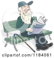 Cartoon Of A Happy Senior Man Reading The Newspaper On A Park Bench Royalty Free Vector Clipart