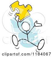 Cartoon Of A Stickler Man Jumping With A Puzzle Piece Over Blue Royalty Free Vector Clipart