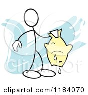Cartoon Of A Stickler Man Holding A Fish Over Blue Royalty Free Vector Clipart by Johnny Sajem