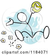 Cartoon Of A Stickler Man Jumping With A Spring Forward Clock Over Blue Royalty Free Vector Clipart
