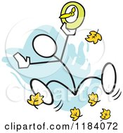 Cartoon Of A Stickler Man Jumping With A Fall Back Forward Clock Over Blue Royalty Free Vector Clipart