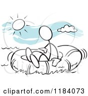 Cartoon Of A Stickler Man Adrift In A Survival Raft Over Blue Royalty Free Vector Clipart by Johnny Sajem