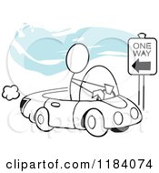 Cartoon Of A Stickler Man Driving Incorrectly On A One Way Street Over Blue Royalty Free Vector Clipart