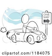 Cartoon Of A Stickler Man Driving Correctly On A One Way Street Over Blue Royalty Free Vector Clipart by Johnny Sajem