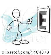 Cartoon Of A Stickler Man Pointing To A Giant Eye Chart Over Blue Royalty Free Vector Clipart