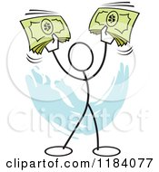 Cartoon Of A Stickler Man Holding Up Cash Money Over Blue Royalty Free Vector Clipart by Johnny Sajem