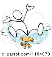 Cartoon Of A Stickler Man Spinning On A Stool Over Blue Royalty Free Vector Clipart