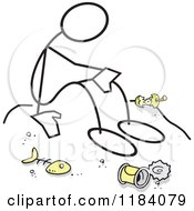 Cartoon Of A Stickler Man In The Dumps Surrounded By Discarded Food Items Royalty Free Vector Clipart