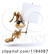 Clipart Of A 3d Brown Bunny Wearing Sunglasses And Hopping With A Sign Royalty Free CGI Illustration
