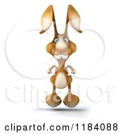 Clipart Of A 3d Brown Bunny Hopping Forward Royalty Free CGI Illustration by Julos