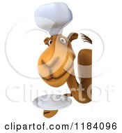 Clipart Of A 3d Camel Chef Holding A Plate Around A Sign Royalty Free CGI Illustration