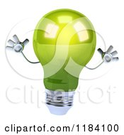 Clipart Of A 3d Green Lightbulb Jumping Royalty Free CGI Illustration