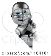 Clipart Of A 3d Metal Baby Robot Pointing To A Sign Royalty Free CGI Illustration